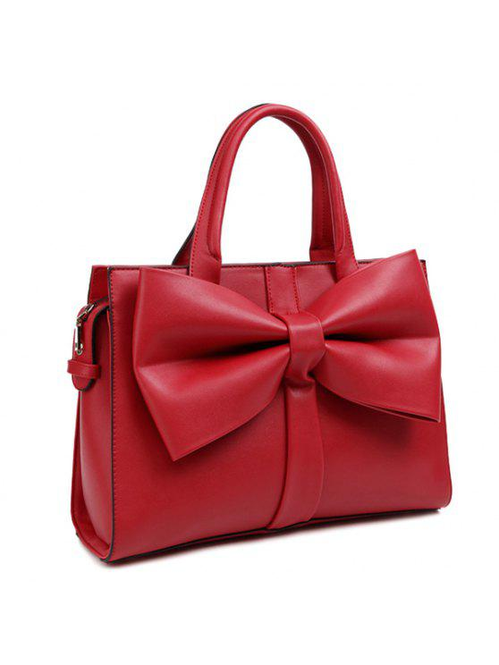 بو الجلود القوس سستة حمل حقيبة - أحمر