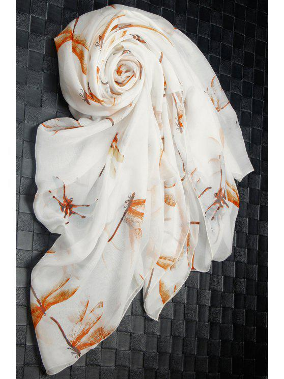 womens Casual Dragonfly Print Chiffon Scarf - OFF-WHITE M