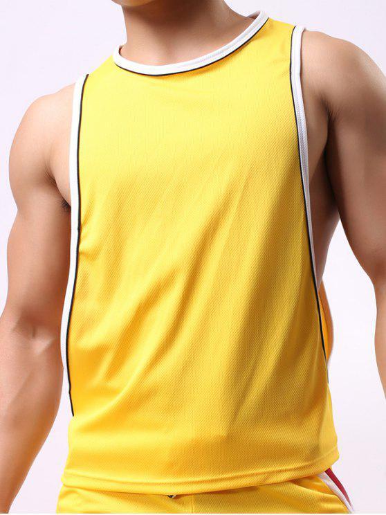 جولة الرقبة متفوقا تصميم الرياضة تانك الأعلى - الأصفر XL