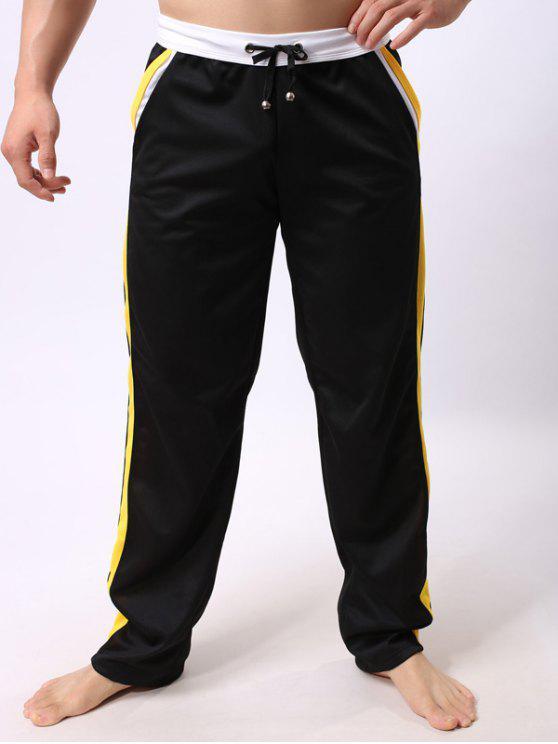 الدانتيل متابعة كتلة اللون الحواف الربط مستقيم الساق السراويل الرياضية - أسود XL