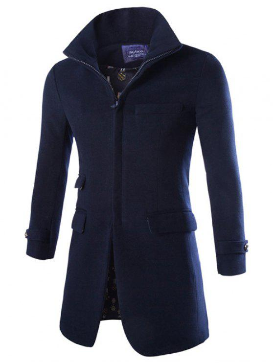 trendy Turndown Collar Longline Zip Up Woolen Coat - CADETBLUE M