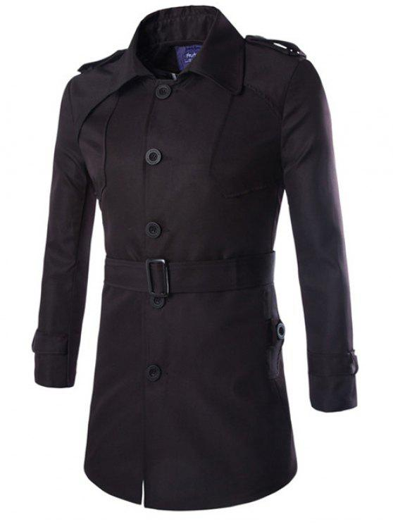 lady Turn-Down Collar Epaulet Design Lengthen Single-Breasted Coat - BLACK M