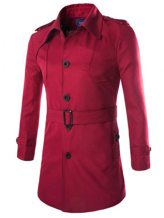 hot Turn-Down Collar Epaulet Design Lengthen Single-Breasted Coat - WINE RED L