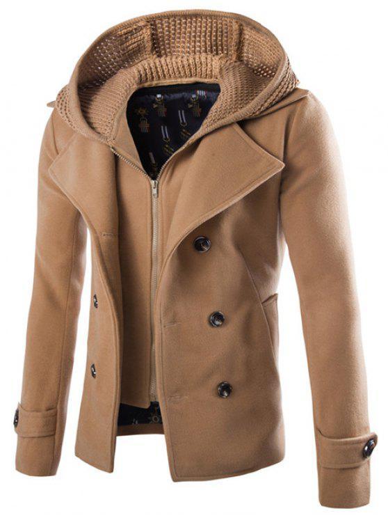 fashion Detachable Knitting Hooded Pea Coat - CAMEL M