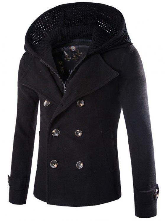 Staccabile a maglia con cappuccio doppiopetto Zip-up di lana del cappotto - Nero 2XL