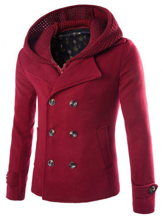 outfit Detachable Knitting Hooded Double-Breasted Zip-Up Woolen Coat - WINE RED XL