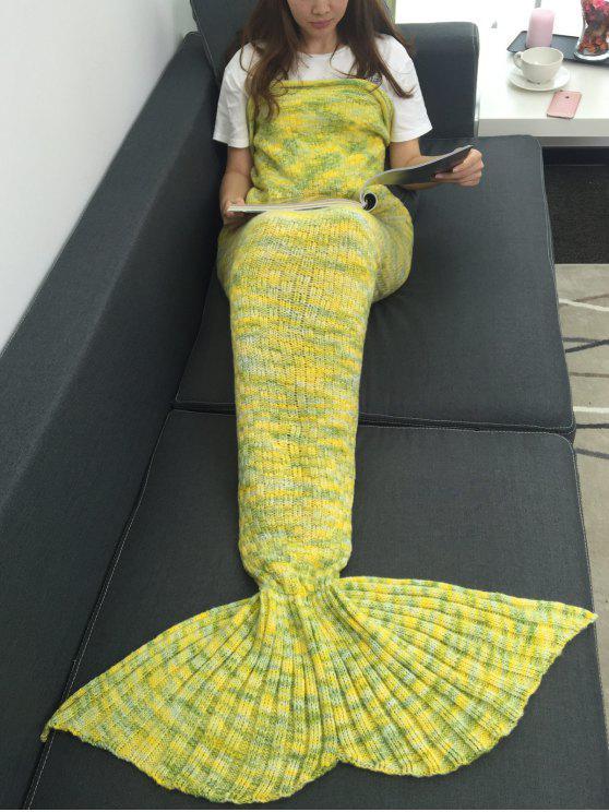 الدفء الاكريليك محبوك متعدد الألوان حورية البحر ذيل بطانية - الأصفر W31.50inch * L70.70inch