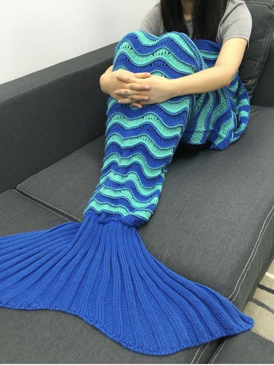 الدفء الكروشيه محبوك تصميم مخرمة بطانية حورية البحر - أزرق