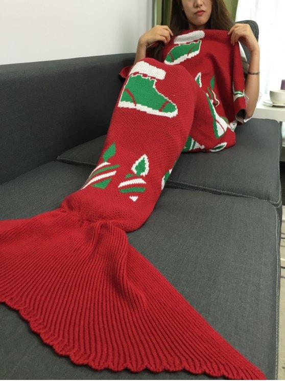هدية عيد الميلاد والثلج رجل محبوك حورية البحر ذيل بطانية - أحمر