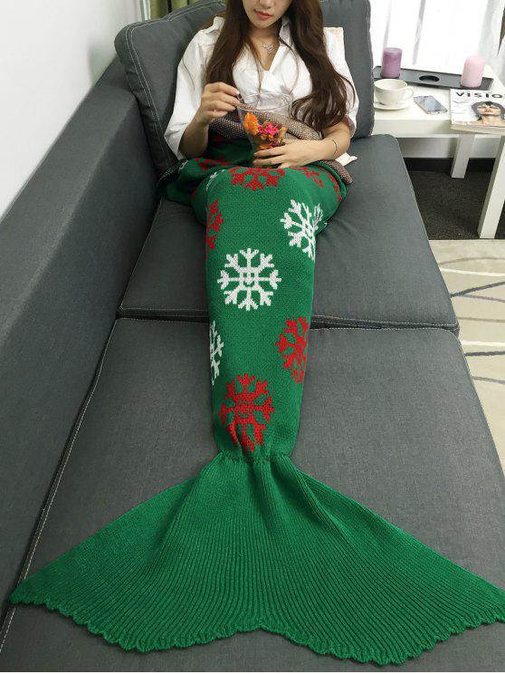 عيد الميلاد الثلوج تصميم محبوك حورية البحر الذيل بطانية - أخضر