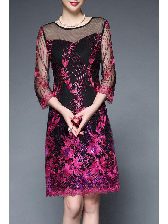 fancy See Through Embroidered Sequin Dress - ROSE MADDER 2XL