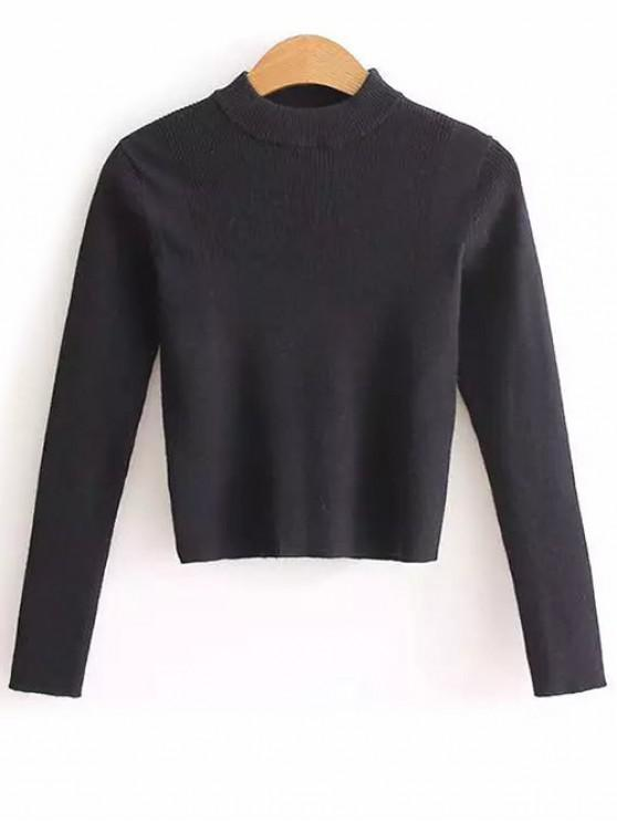 women's Mock Neck Cropped Pullover Sweater - BLACK ONE SIZE
