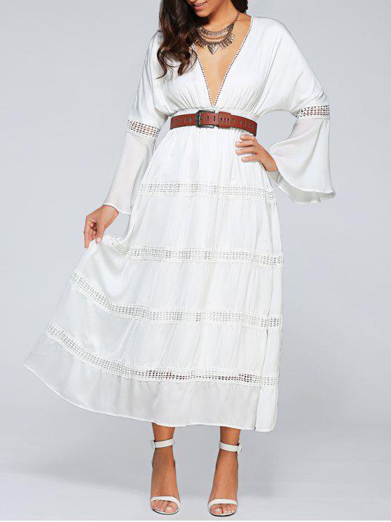 Hundiendo cuello de la llamarada de la manga ahueca hacia fuera el vestido con cinturón - Blanco M