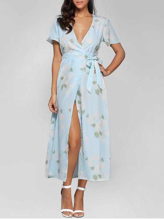 6a513653c 30% OFF] 2019 Floral Print High Slit Plunging Neck Wrap Dress In ...