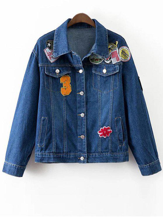 Женская Джинсовая Куртка С Заплатами И Карманами - Тёмно-синий L