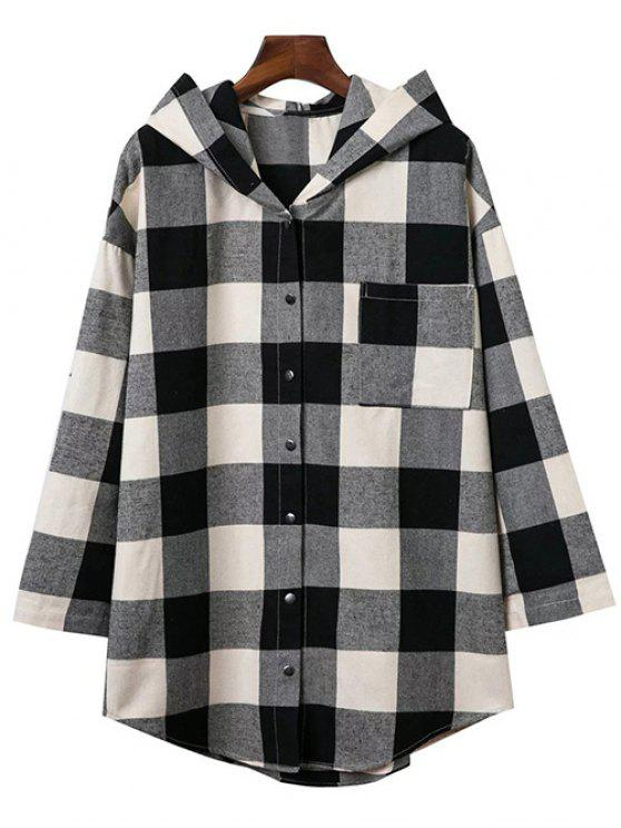 sale Hooded Oversized Plaid Shirt - COLORMIX S