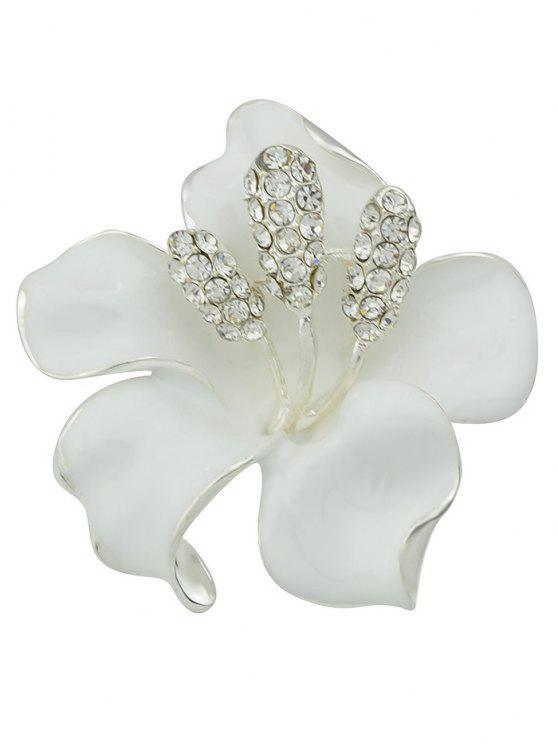 Broche floral del Rhinestone - Blanco