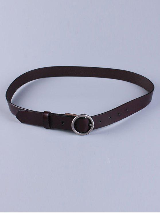 Cinturón de cuero de imitación hebilla redonda - Café Oscuro