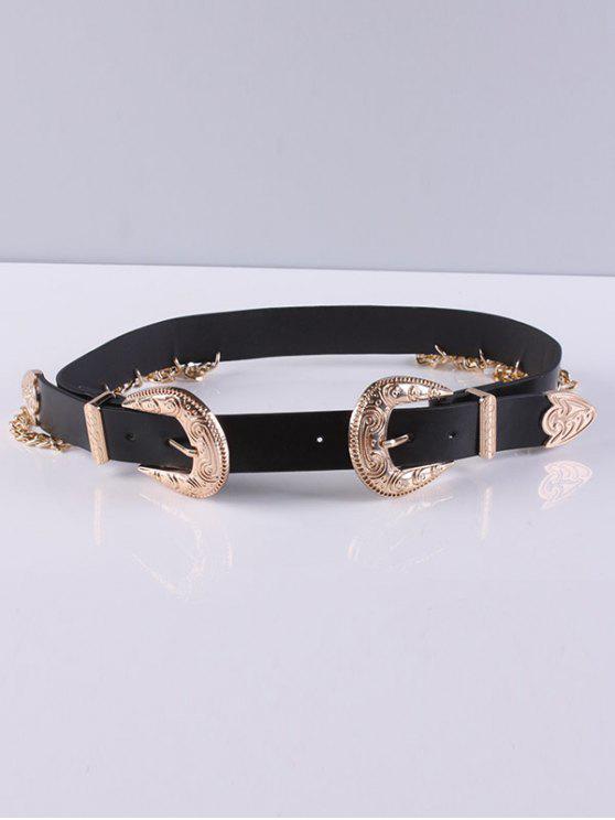 Chain Double Buckles Belt Tassel - Noir