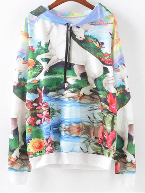 Pocket avant Scenery Print Hoodie - Multicolore L