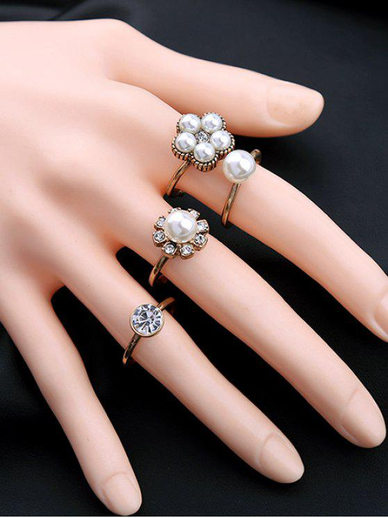 Rhinestone Faux Pearl Floral Ring Set GOLDEN