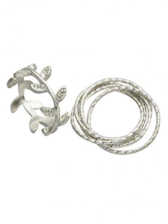 Un conjunto de anillos de la hoja - Plata