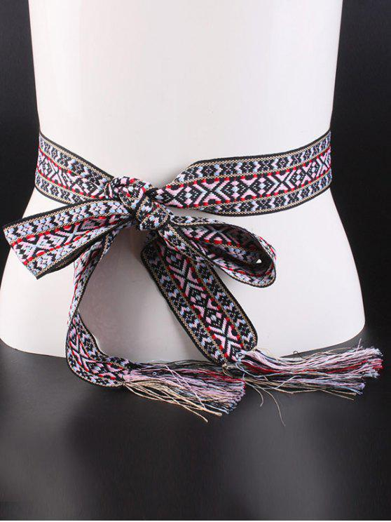 chic Embroidery Weaving Tassel Knotted Belt - BLACK