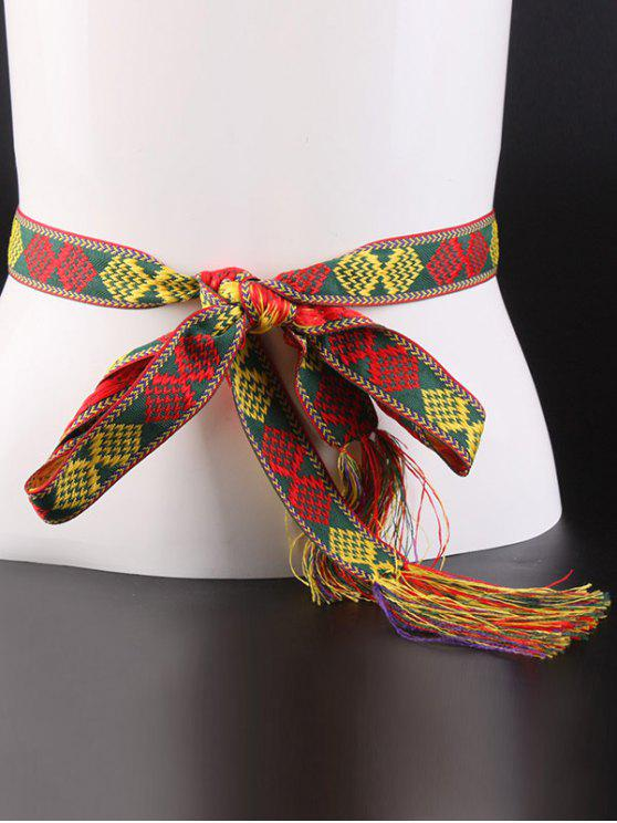 fancy Rhombus Embroidery Weaving Tassel Canvas Belt - RED