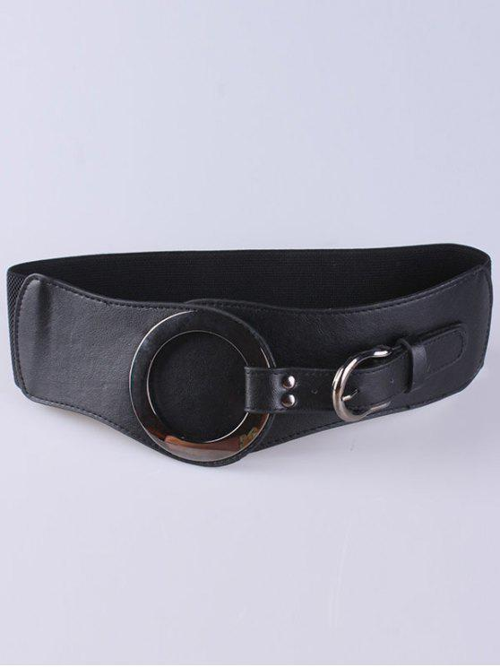 sale Hollow Hoop Pin Buckle Elastic Belt - BLACK