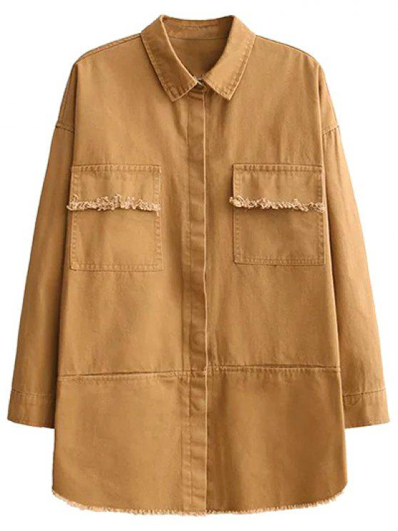 outfit Flap Pockets Embroidered Overshirt - YELLOW M
