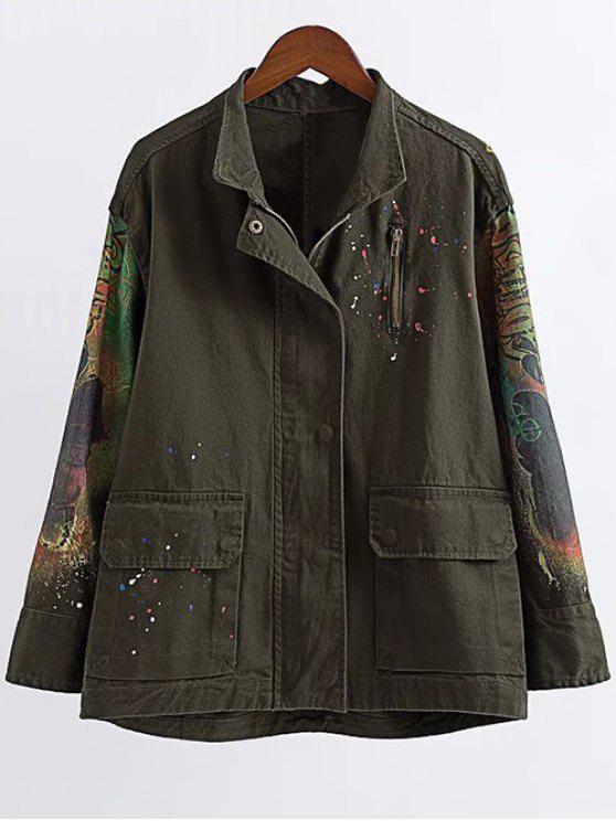 shop Printed Utility Jacket - ARMY GREEN L