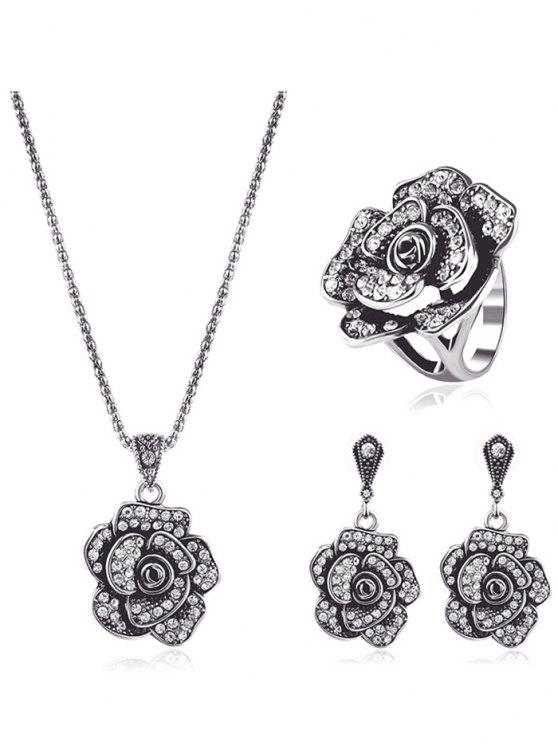 Ensemble de bijoux à diamants artificieux en forme floral - Argent