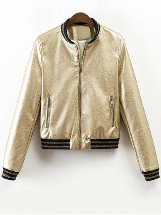 Metálica de color chaqueta de bombardero - Champán XL
