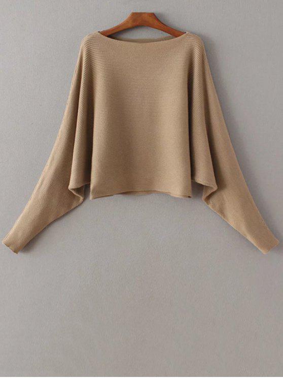 Manga del Batwing del suéter del cuello del barco - Caqui Única Talla