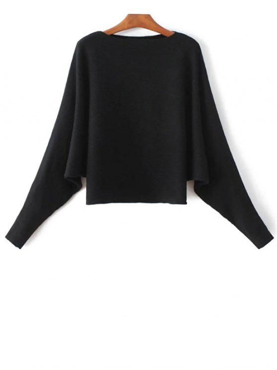 4f7d6b938ef 29% OFF  2019 Batwing Sleeve Boat Neck Sweater In BLACK