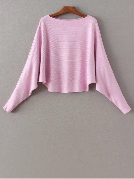 520d62b5f63 30% OFF  2019 Batwing Sleeve Boat Neck Sweater In PINK