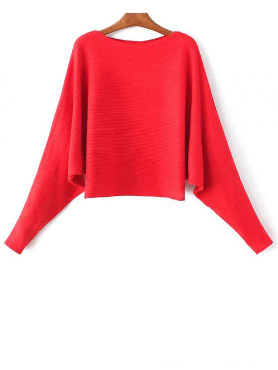 538b113f5b4 61% OFF  2019 Batwing Sleeve Boat Neck Sweater In RED