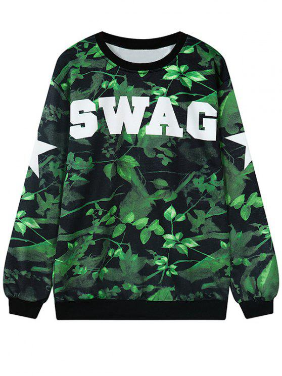 buy Letter Leaf Print Pullover Sweatshirt - GREEN ONE SIZE