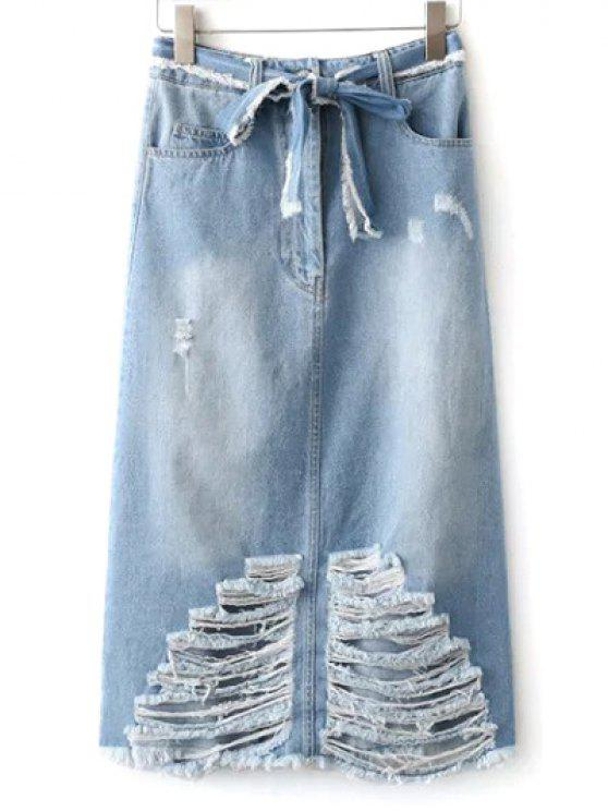 unique Ripped Midi Denim Skirt With Pockets - LIGHT BLUE L