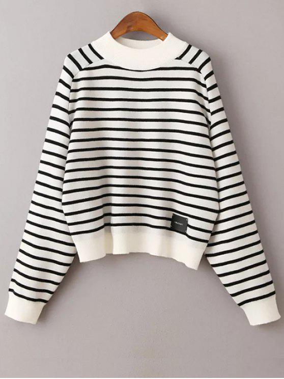 Rayas camiseta manga del suéter - Blanco Única Talla