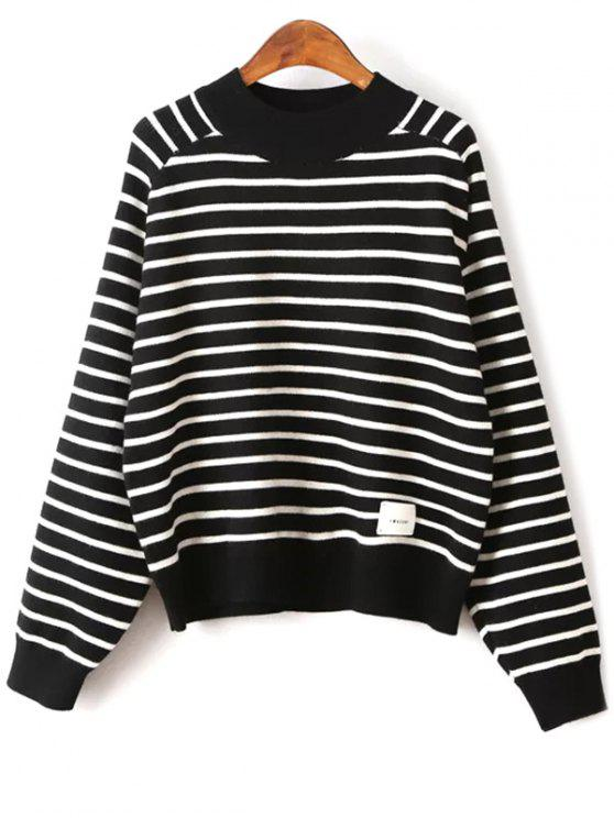 fancy Striped Raglan Sleeve Sweater - BLACK ONE SIZE