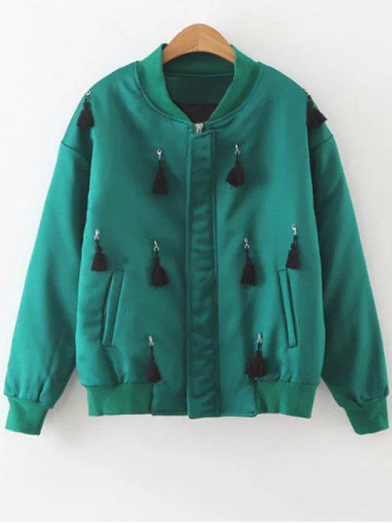 women's Fringed Bomber Jacket - GREEN M