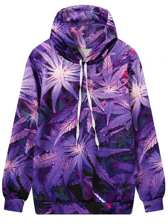 outfits Leaf Print Hooded Sweatshirt - PURPLE M