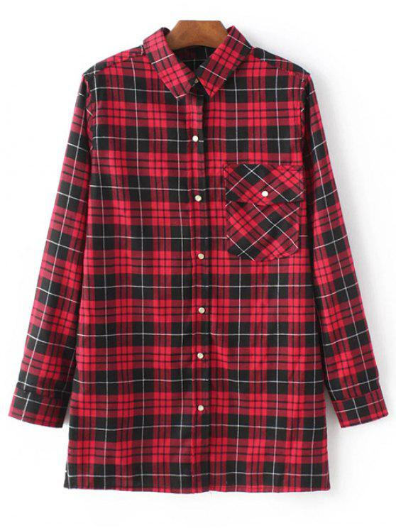 lady Checked Embroidered Shirt - RED L