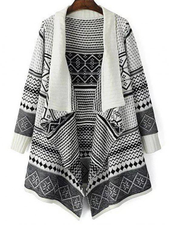 fancy Jacquard Knit Draped Front Cardigan - WHITE ONE SIZE