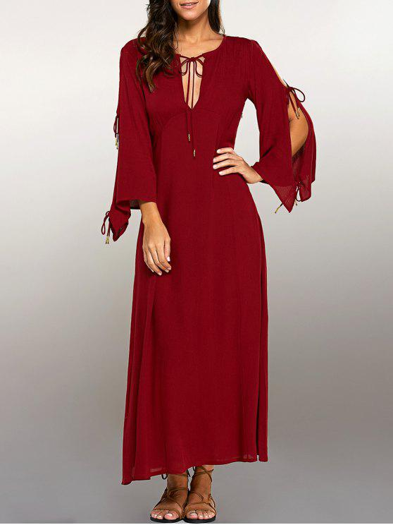 best Split Sleeve Lacing Maxi Dress - RED M