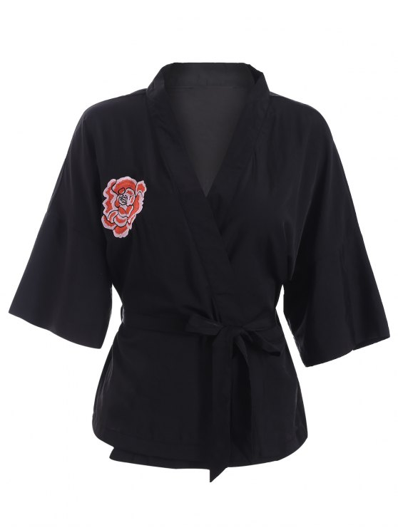 hot Embroidered Belted Kimono - BLACK L