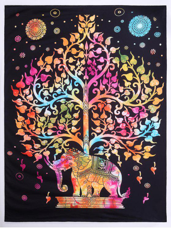 trendy Tree Elephant Print Beach Square Throw - COLORMIX L