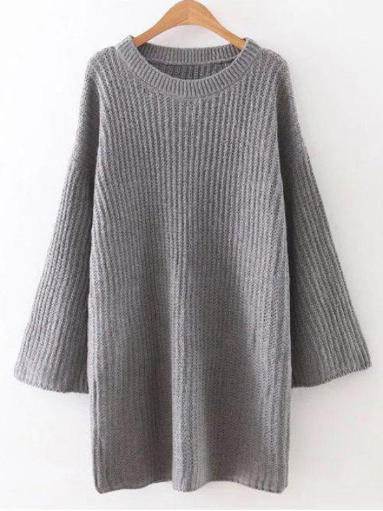 Caída del hombro vestido de suéter manga larga - Gris Única Talla