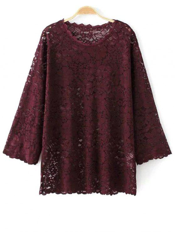 latest Flared Sleeve Guipure Lace Top - WINE RED L